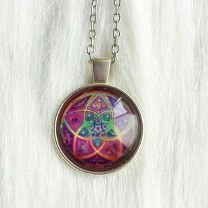 Jewelry - Bohemian Mandala Glass Cabochon Necklace
